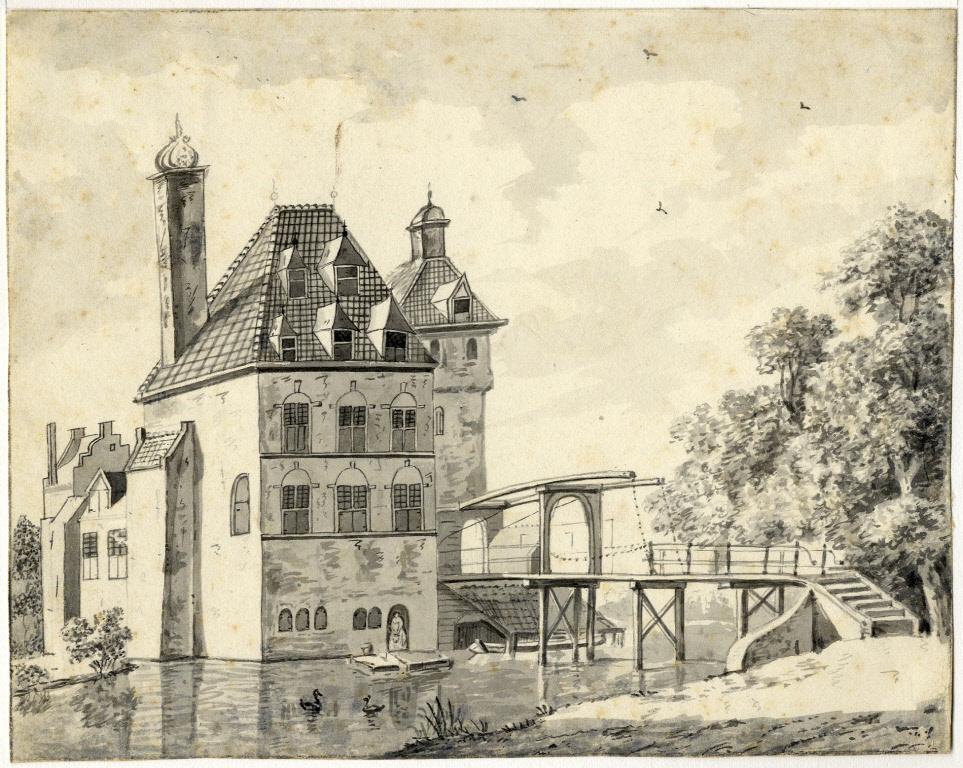Tekening die een onbekende kunstenaar omstreeks 1760 maakte van het kasteel in Harmelen