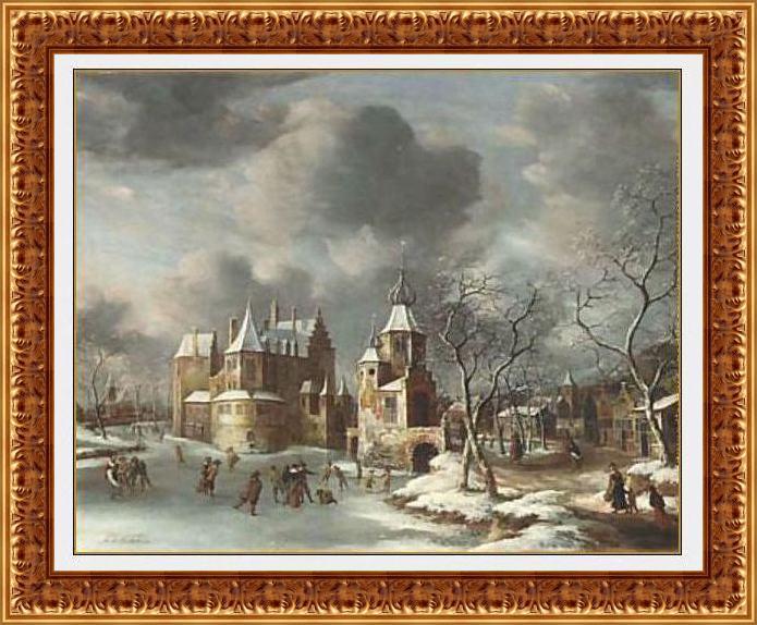 Schaatsers op het ijs bij kasteel Groot Poelgeest in Koudekerk aan de Rijn. Jan Abrahamsz. Beerstraaten, 1665