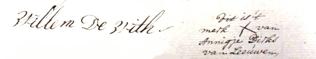 Handtekeningen onder testament dat werd opgesteld in het eerste jaar dat Willem Claassen de Wit schepen was. Op 6 april 1764 werd daarin vastgelegd dat het bezit werd nagelaten aan de langst levende echtgenoot. Annigje van Leeuwen ondertekende met een kruis omdat ze niet kon schrijven.