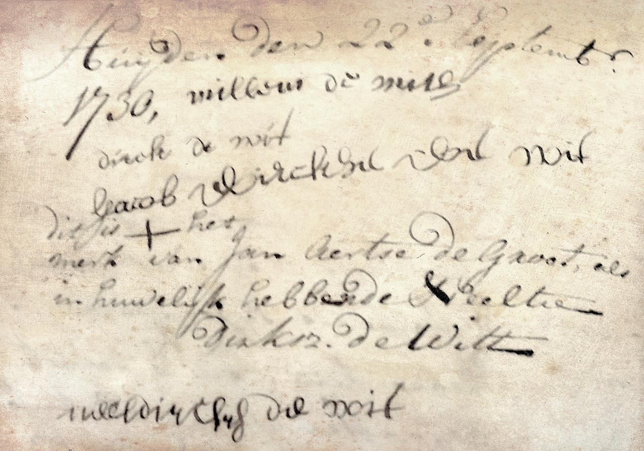 Handtekeningen van Willem Claassen de With en de kinderen van Marrigje Dirksdochter Teeuw en Dirk Claasen de With onder de boedelscheiding van zijn overleden broer en hun vader. Bodegraven, 22 september 1730