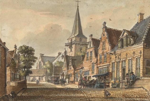 Het dorp Harmelen. Aquarel van Jan Beijer, 1749.