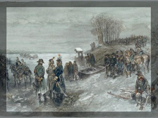 Franse troepen trekken over een bevroren rivier in de winter van 1794/95, Charles Rochussen 1888