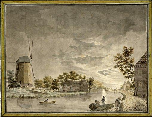 Gezicht op de Leidsche Rijn bij Harmelen. Anonieme tekening uit de 18e eeuw
