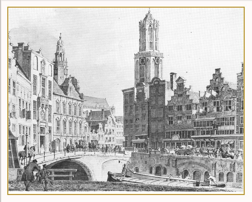 Gezicht vanaf de Oude Gracht op de Stadshuisbrug in Utrecht. Met aan de rechterzijde een hoekpand aan de Lakensnijdersstraat (Choorstraat). Tekening van C. Pronk, 1756