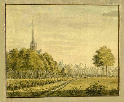 Gezicht op het dorp Kamerik. Tekening van D. van der Burg, circa 1760