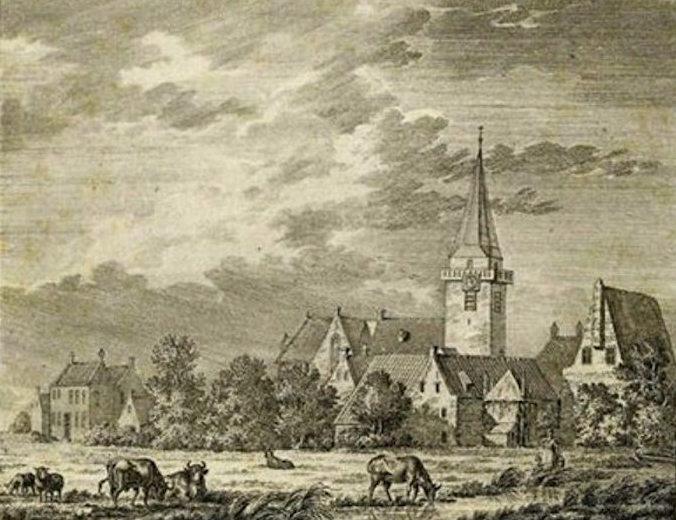 ezicht op het dorp Harmelen met links het rechthuis en rechts de gereformeerde staatskerk. Ets van J.E. Graavé, circa 1780.
