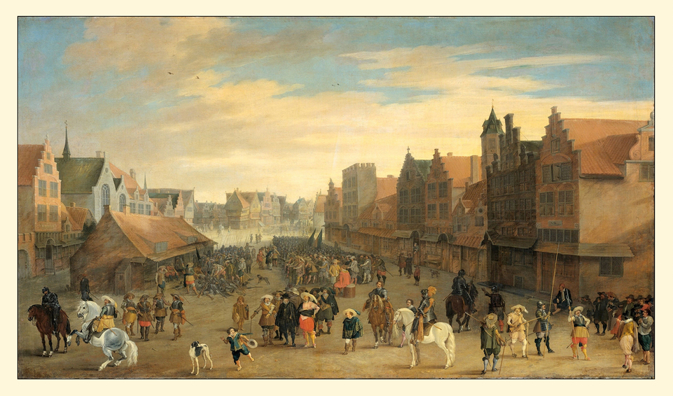 Aan het begin van de 17e eeuw tijdens een bestand in de 80 jarige oorlog, kwam het bijna tot een burgeroorlog vanwege een ideologisch conflict dat al sinds de reformatie speelde. De strijd ging tussen remonstranten van de vrijzinnig protestantse richting en contraremonstranten die een zware calvinistische religie voorstonden. Het stadsbestuur van Utrecht nam in 1617 waardgelder (huursoldaten) in dienst om de onlusten met aanhangers van die laatste groep de kop in te drukken. Maar prins Maurits sloot zich bij deze stroming aan, al is het twijfelachtig of hij dat deed uit godsdienstige overtuiging of dat het een kwestie van politieke berekening was. Zijn grote politieke rivaal, landsadvocaat Johan van Oldenbarnevelt steunde de remonstranten. Na diens executie werd de contra remonstrantse stroming de officiële leer van de gereformeerde kerk in de Republiek der Zeven Verenigde Nederlanden. Op 31 juli 1618 trok prins Maurits Utrecht binnen met het Staatse leger. De waardgelders werden op het Neude verzameld en ontslagen. Remonstrantse tegenstanders werden gevangen genomen en de prins van Oranje stelde een nieuw stadsbestuur aan. Zo kwam een middenklasse van gildemeesters en koopmannen aan de macht in Utrecht. Joost Cornelisz Drooghsloot voltooide in 1625 dit schilderij waarop het afdanken van de waardgelders op het Neude staat afgebeeld. De twee panden helemaal rechts werden in het jaar 1700 door lakenhandelaar Justus Gerritsen van den Bosch aangekocht en bewoond.