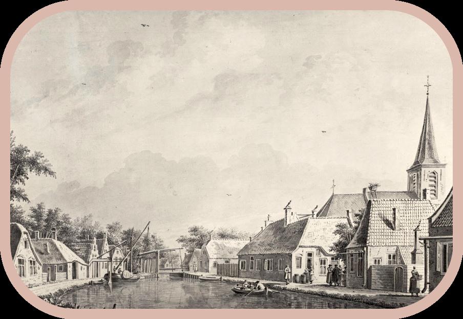 Gezicht op het dorp Kockengen, met rechts de gereformeerde kerk waar Neeltje van Es en haar vijf oudste dochters, en de kinderen van hun buurman Anthony van den Bosch (C7) gedoopt werden. Tekening van Dirk Verrijk, circa 1762.