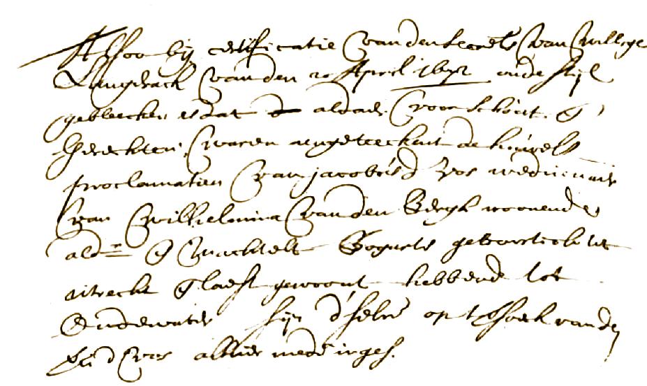 Uit een bericht van rectificatie (correctie) van de schout van Willigen Langerak van 20 april 1672 is gebleken dat aldaar (voor schout en schepengerecht) was opgetekend de huwelijksproclamatie (bekendmaking) van Jacobus de Vos, weduwnaar van Wilhelmina van den Bergh, woonende aldaar en Machtelt Bogarts geboren in Utrecht en gewoond hebbende te Oudewater. Huwelijk alhier ingeschreven in mei 1672. Huwelijksproclamatie boek gerecht Oudewater 1660 - 1690.