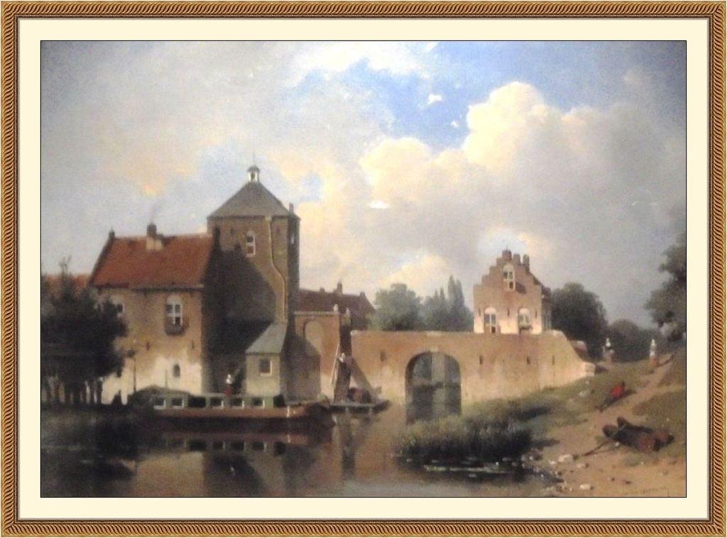 De IJsselpoort  van de stad IJsselstein, gezien vanuit de baronie IJsselstein. Schilderij van Jan Weissenbruch, omstreeks 1850