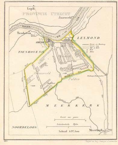 Kaart van het deel van de Alblasserwaard waar de familie Uittenbogaard oorspronkelijk vandaan kwam. J. Kuijper circa 1870.
