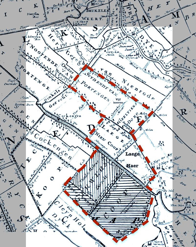 Landkaart uit omstreeks 1670, met het ambacht (gemeente) Laagnieuwkoop gemarkeerd. Dit gebied bestond uit zeven gerechten onder leiding van een schout en schepencollege. Vanaf 1765 zaten er elf vertegenwoordigers van deze gerechten in de schepenbank, namelijk: twee schepenen uit Portengen Zuideinde, één schepen uit Vijfhoeven in Kortrijk, twee schepenen uit Gieltjesdorp, twee schepenen uit de polder Laagnieuwkoop, één schepen uit het Loefsgerecht van Ruwiel (Lage Haar), één schepen uit Gerverscop – Utenhams en twee schepenen uit Gerverscop – Staten.