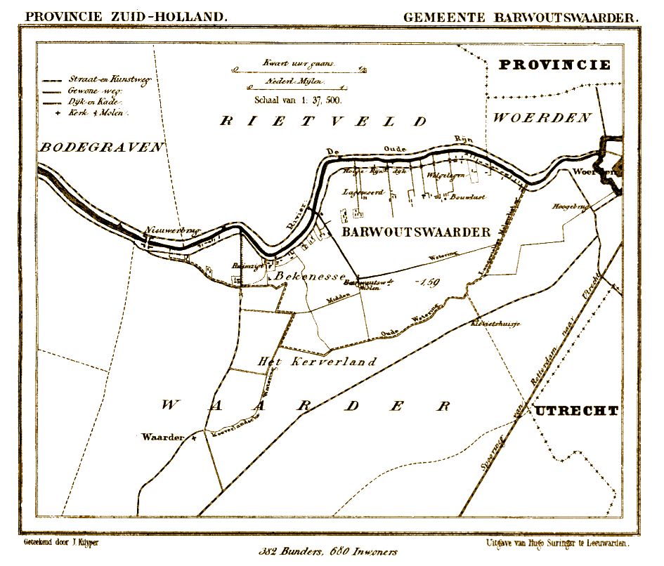 Kaart van Waarder en omgeving met daarin de polders Barwoutswaarder en Bekenes -gelegen tussen Woerden en Nieuwerbrug - ten Zuiden van de Ouderijn. J.Kuijper, 1865 – 1870.