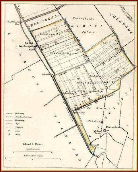 Kaart van de gemeente Laagnieuwkoop. J. Kuijper, 1865. Tijdens een gemeentelijke herindeling werd het gerecht Laagnieuwkoop in 1812 toegevoegd aan de gemeente Breukelen, samen met de gerechten Gieltjesdorp en het Zuideinde van Portengen. In 1818 werden deze daar weer vanaf gesplitst en vormden ze samen tot 1942 de zelfstandige gemeente Laagnieuwkoop. Het college van burgemeester en wethouders en de gemeenteraad vergaderde in een kamer van herberg het 'Regthuis' aan de Portengensebrug. Vermoedelijk maakten ook hun voorgangers - het college van schout en schepenen van het ambacht Laagnieuwkoop waar Anthony van den Bosch (CC7.1) deel van uitmaakte - al gebruik van deze locatie. Ook de gemeenten Ruwiel en Loenersloot vergaderde er. Per 1 januari 1877 kreeg de gemeente Laagnieuwkoop een eigen gemeentehuis in een deel van een voormalige pastorie te Kockengen. De rest van het pand fungeerde als gemeentehuis van Kockengen. Af en toe werden bevolkingsgegevens uit Laagnieuwkoop bijgeschreven in de registers van de burgerlijke stand van de gemeente Kockengen, die het gebied wijk 117 noemden.