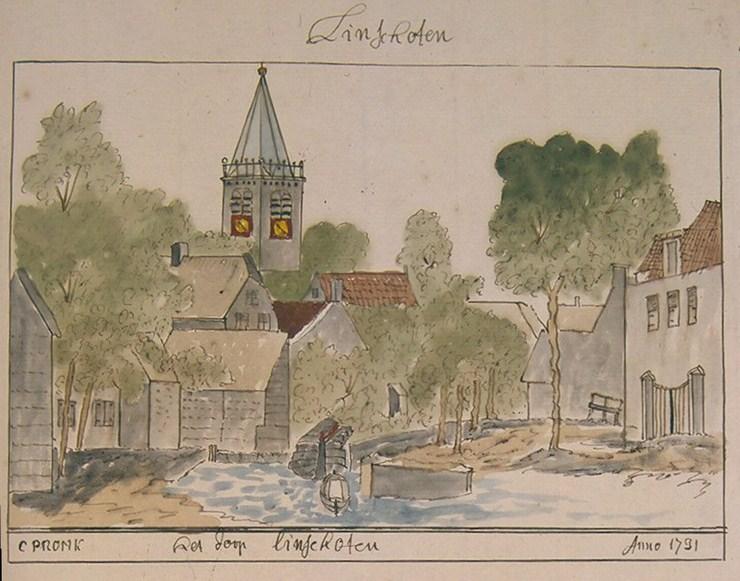 Het dorp Linschoten anno 1731, getekend door de Amsterdammer Cornelis Pronk (1691 – 1751)