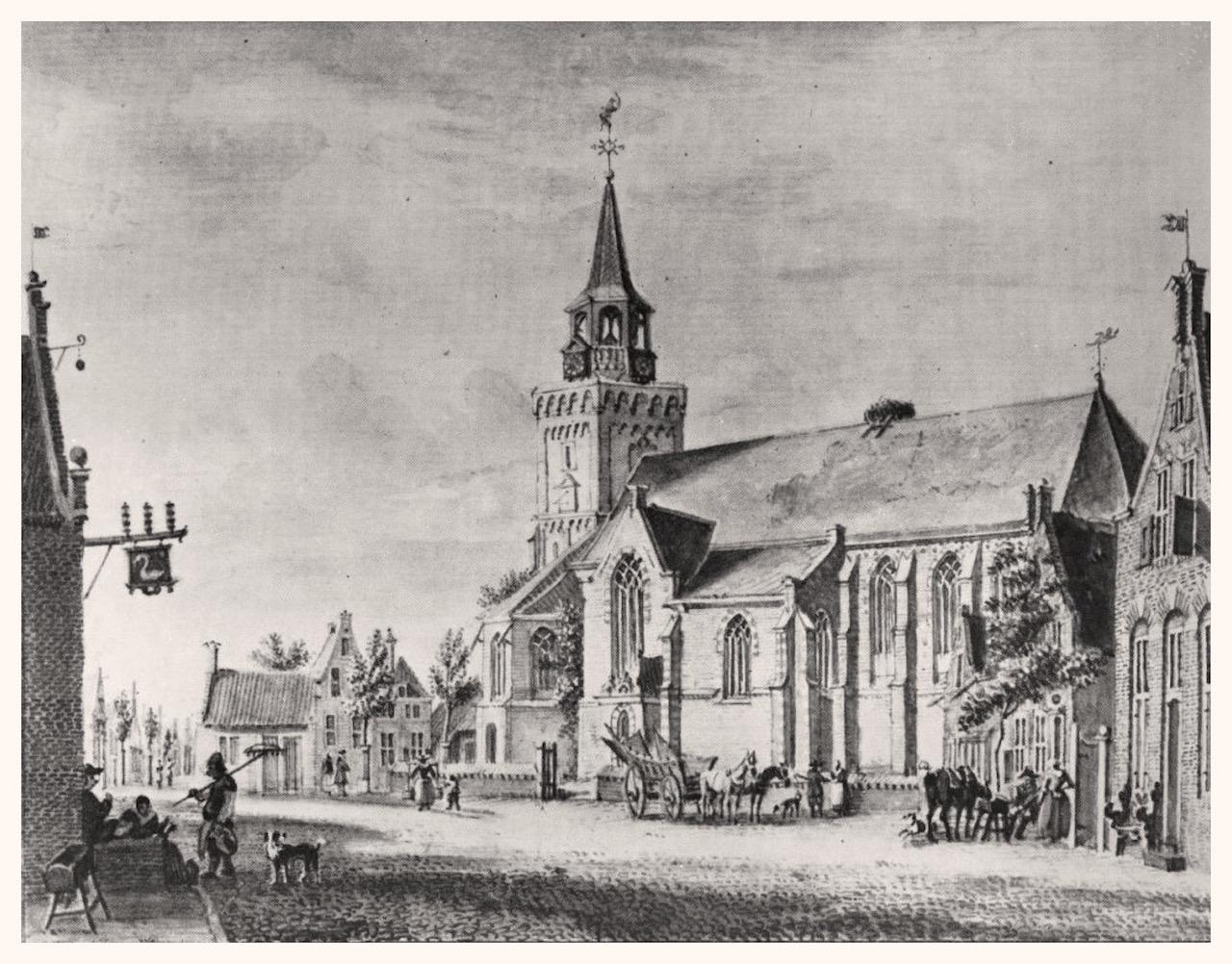 De oude markt in Bodegraven, links de herberg (met uithangbord) die op dat moment als gemeentehuis fungeerde. Tekening van Jan Beijer, 1757.
