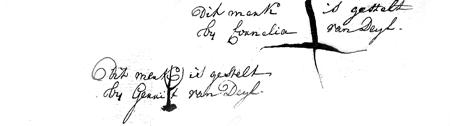 Ondertekening van de notariële akte over de betaling van kraamkosten en alimentatie. Utrecht, 8 juni 1776 (2).