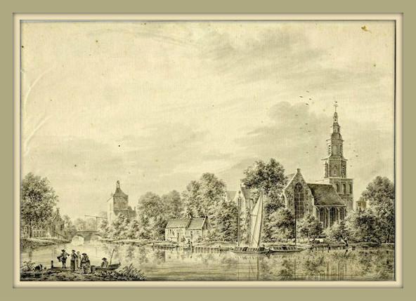 Gezicht op de Oude Sint Nicolaaskerk in IJsselstein. Tekening van J.P. van Liender, 1763