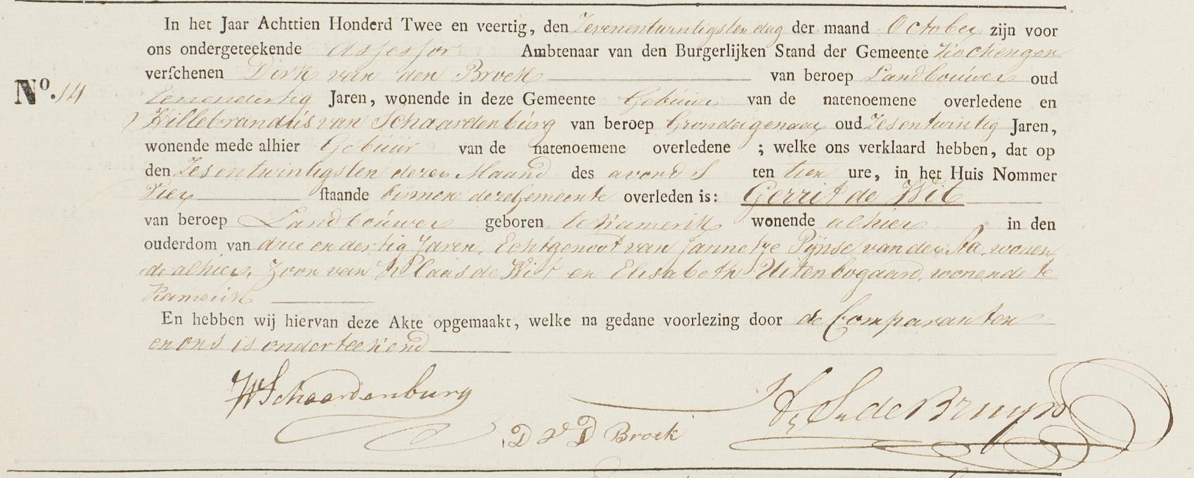 Overlijdensakte Gerrit de Wit, Kockengen 26 oktober 1842