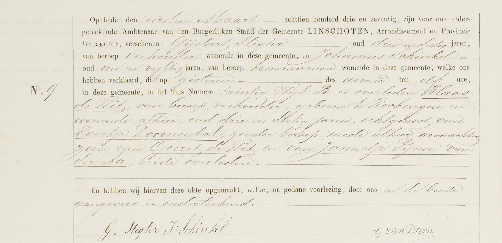 Overlijdensakte Klaas Wit, opgesteld te Linschoten den eersten Maart 1873