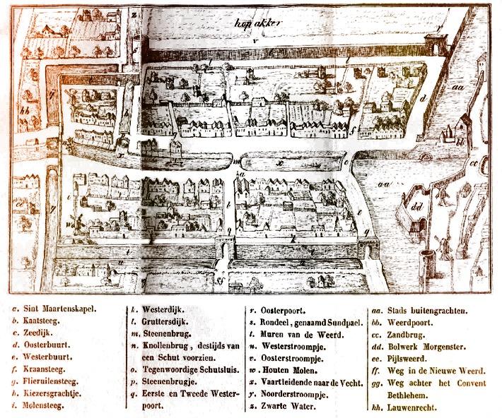 Plattegrond met straatnamen van de ommuurde voorstad van Utrecht die Bemuurde Weerd (aan water gelegen land) werd genoemd. De Molensteeg (i) waar Wouter van den Bosch en zijn gezin zich rond 1698 vestigden, liep links langs de stadsmuur. Resten van die muur bevinden zich nog in de Molenwerfsteeg, zoals dat straatje heden ten dage heet. Halverwege de steeg lag de Knollenbrug (n), waaronder het water van de Stadsbuitengracht naar de Vecht stroomde. In dat deel van de steeg werd Maria van Gelder in 1667 geboren. Gravure van N. van der Monde, 1837
