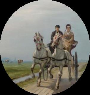 Tweespan met sjees op een polderweg. Detail uit een schilderij van kunstschilder Klaas van Vliet.