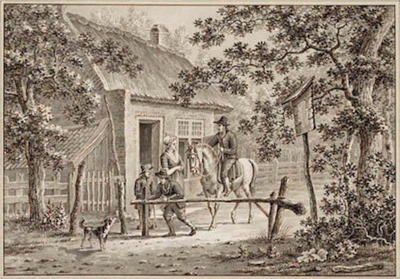 Een vrouwelijke tolgaarder int het tolgeld van een ruiter. In de negentiende eeuw verschenen overal in het land tollen ter financiering van de aanleg en het onderhoud van wegen. Tekening van P. De Goeije, 1841