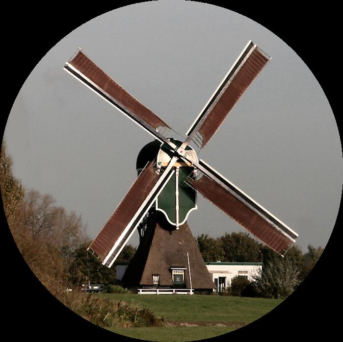 De molen in de polder Weijpoort, gelegen in de buurt van Bodegraven en Nieuwerbrug. De 100 jaar oude molen werd in het rampjaar 1672 door Franse troepen in brand gestoken en in 1674 herbouwd. Deze molen bemaalde tot 1975 de polder