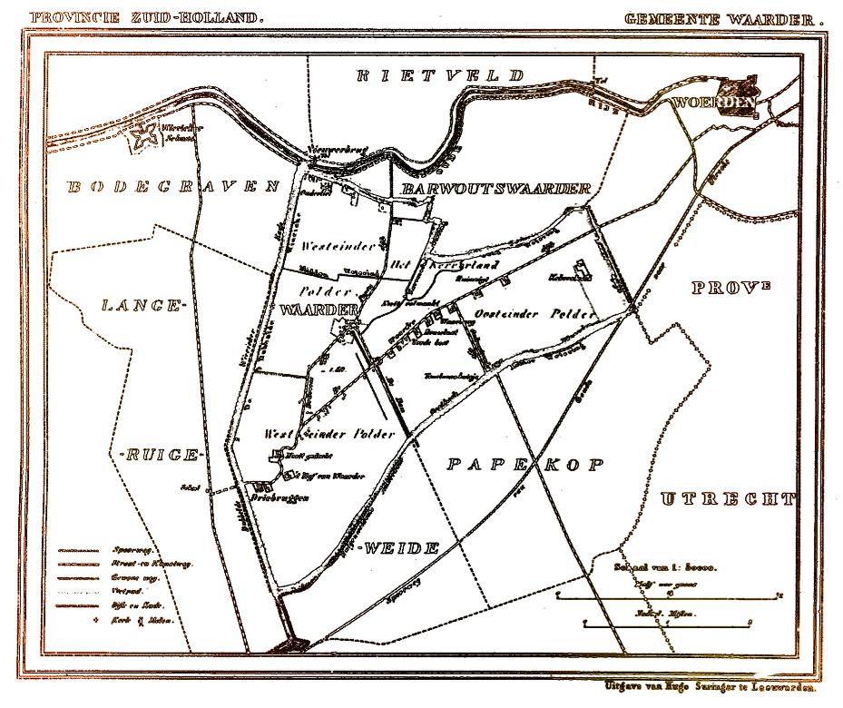 Kaart van Waarder en omgeving, getekend door J. Kuijper 1865 - 1870