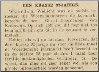 Bericht in de Woerdense Courant over het 81ste bezoek van Gerrit Doornenbal aan de koemarkt. Deze jaarmarkt  (in de volksmond Woerdse mart geheten) is ook heden ten dage nog op de eerste woensdag na 20 oktober in de stad Woerden. Ook de voorouders van Gerrit Doornenbal verhandelde daar vee. Want de jaarmarkt werd al in het jaar 1410 gehouden.