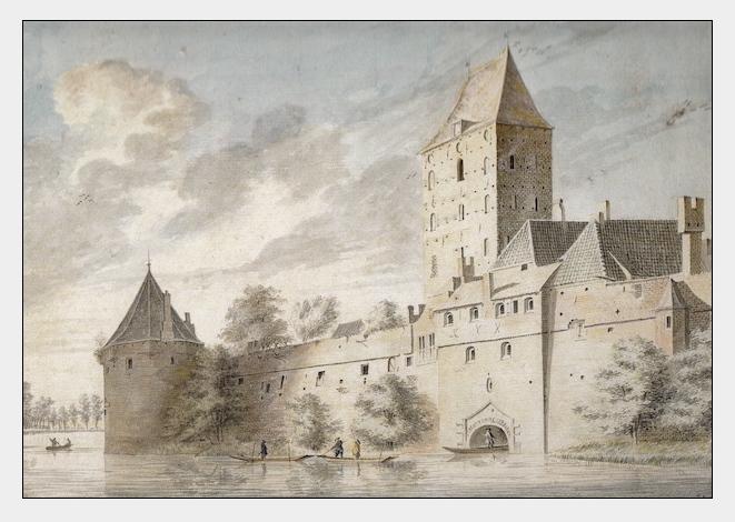 De Stadsbuitengracht in het noordelijk deel van Utrecht. Met de Plompetoren (midden) en links daarvan de Wolvenburg, een militair bolwerk dat diende ter verdediging van de stad. Tekening van WJ. Versteegh, 1756