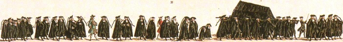 Een deftige aanzienlijke burger- en koopmans begrafenis te voet. J. le Francq van Berkhey, 1776.