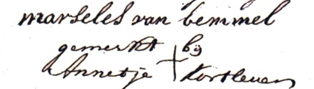 Ondertekening huurcontract 30 december 1780 door Marseles van Bemmel en Annetje Kortleven, die ondertekende met een kruis omdat ze niet kon schrijven. In tegenstelling tot de 17e eeuw konden in deze tijd maar weinig vrouwen lezen en schrijven. Het onderwijs was wel verbeterd en er gingen meer kinderen naar school. Maar dat waren voornamelijk jongens.
