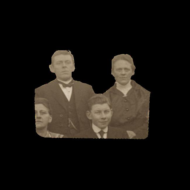 De 57 jarige Harmen Bos en zijn 51 jarige vrouw Alida Frederika Maria Meijer. Detail van een groepsfoto uit 1921.