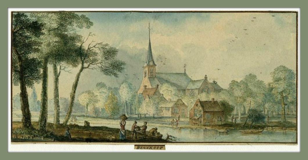 Gezicht op het dorp Benschop in de baronie van IJsselstein. Tekening van G. Melder, 1737.