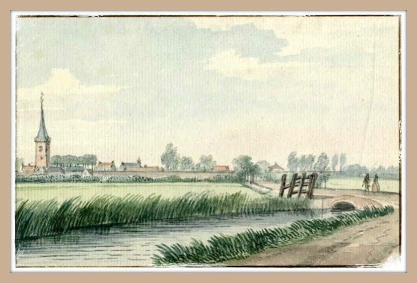 Gezicht op Lopik. Tekening van Aert Schouman, 1752