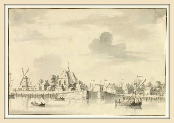 Gezicht over de Lek op het dorp Vreeswijk. Tekening van L.P. Serrurier, omstreeks 1735.