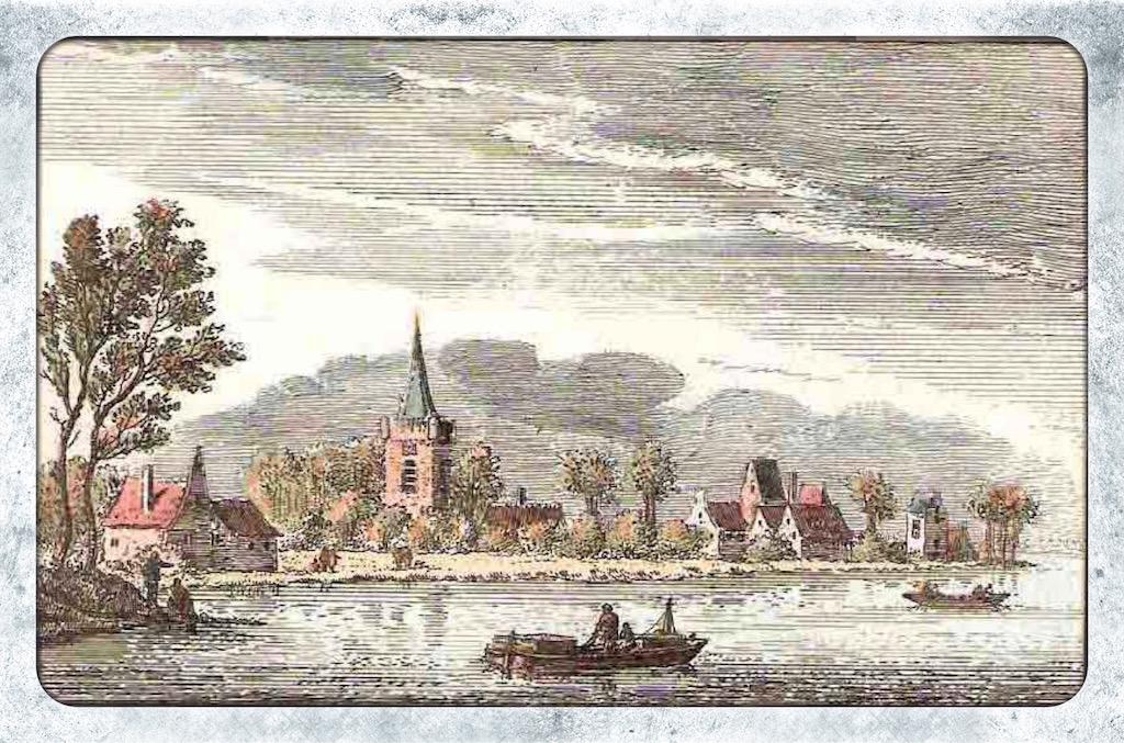 Gezicht op het dorp Jaarsveld, aan de Lek. Gekleurde kopergravure van Abraham Rademaker. Uitgegeven door Willem Barents, boekverkoper te Amsterdam in 1725.