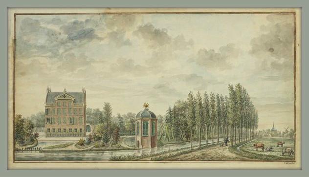 Gezicht op landhuis de Wiers, met een landschappelijk aangelegde tuin en een theekoepel aan het water. Rechts op de achtergrond het dorp Vreeswijk. Tekening van C. de Jonker, omstreeks 1770.