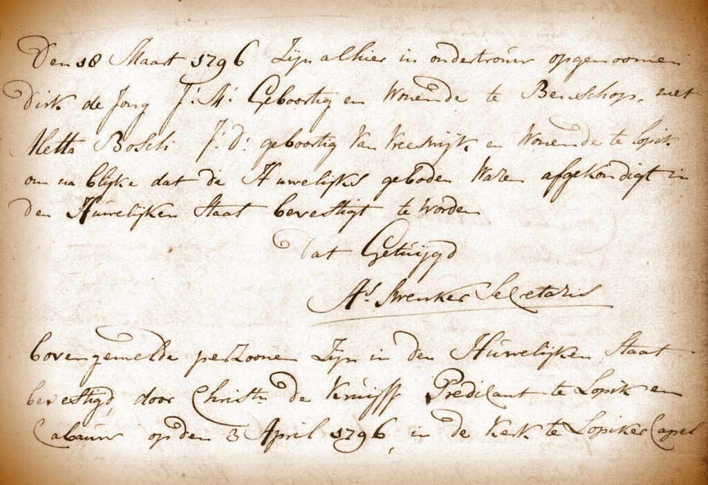 Registratie van de ondertrouw en het huwelijk van Aletta Bosch en Dirk de Jong. Trouwboek Lopik, 1796.