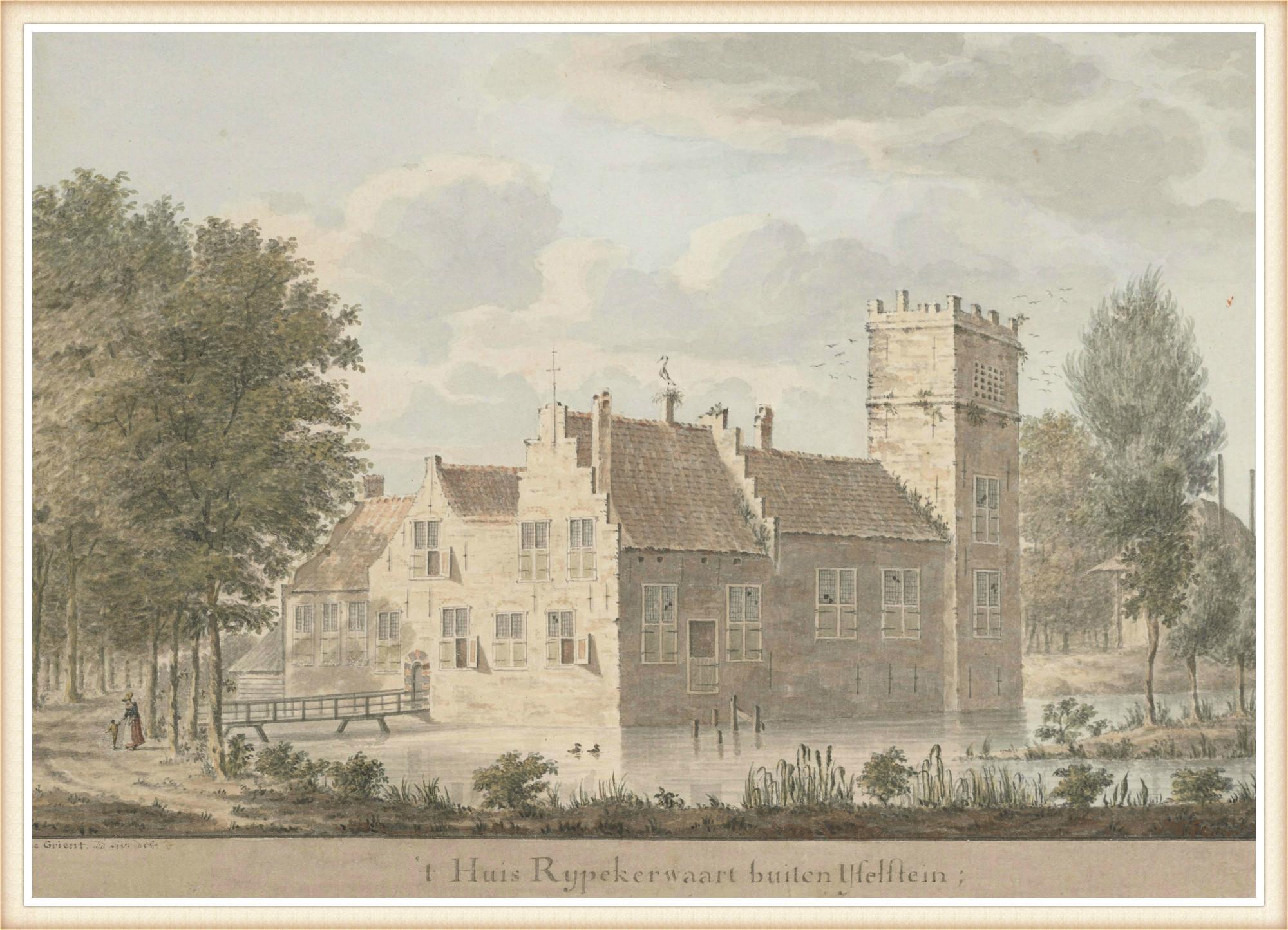 Kasteel Repplikerwerth, landgoed van het kerspel Eiteren. Op de fundamenten van dit landhuis werd hofstede Rijpickerwaard gebouwd, die van 1789 – 1807 eigendom was van Annigje Bosch en Willem Middach. Tekening van C. de Grient, omstreeks 1750.