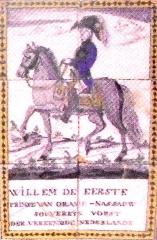 Tegel uit de voormalige boerenwoning van de familie Bos aan Noord IJsseldijk 41 in IJsselstein, met de afbeelding van koning Willem I. Deze tegel is onderdeel van een serie, die er met de sloop van het pand in 1973 uit werd gehaald. Het is van de hand van meester schilder Abraham van Griethuizen (1751 – 1843). De hele serie werd in 2006 door het veilinghuis Christie te Londen geveild (1).