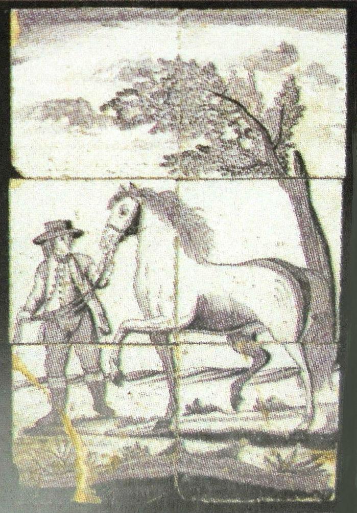 Tegel uit de voormalige boerenwoning aan Noord IJsseldijk 41 in IJsselstein. Deze tegel is onderdeel van een serie, die er met de sloop in 1973 uit werd gehaald. Het is van de hand van meesterschilder Abraham van Griethuizen (1751 – 1843) en vervaardigd door een plateelbakkerij in de stad Utrecht. De hele serie werd in 2006 door het veilinghuis Christie te Londen geveild (9).