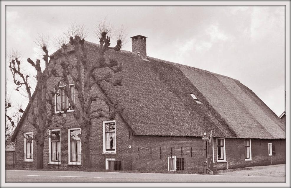 Foto uit 1967 van de boerderij in Nieuwerbrug die Teunis Bos in 1855 kocht en de naam 'Veelust' gaf. Aan het eind van de 19e eeuw noemden zijn opvolgers de hofstede 'Waarborg'. Deze hoeve met rieten wolfdak is een rijksmonument en werd volgens de gevelsteen gebouwd in 1791.