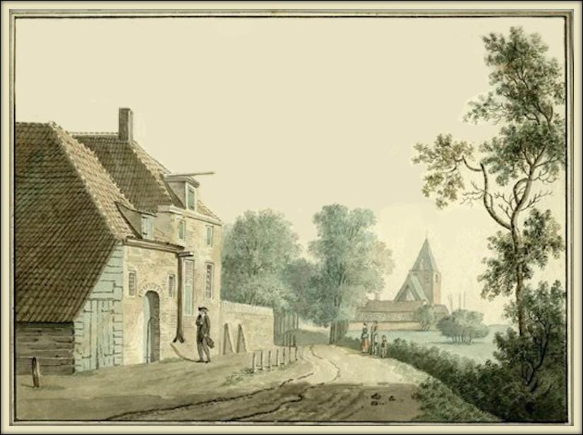 Gezicht vanaf de Voordorpsedijk op Blauwkapel. Anonieme tekening, circa 1800.