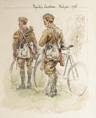 Anonieme tekening uit 1916 met daarop leden van de Wielrijderscompagnie van de Vrijwillige Landstorm.